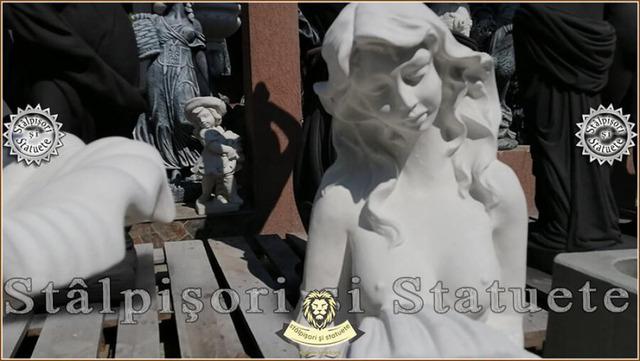 Statueta sirena cu scoica, din beton, model S49. - Imagine 2