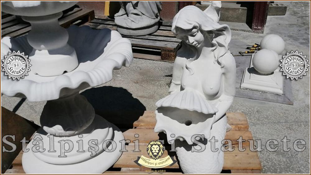 Statueta sirena cu scoica, din beton, model S49. - 3