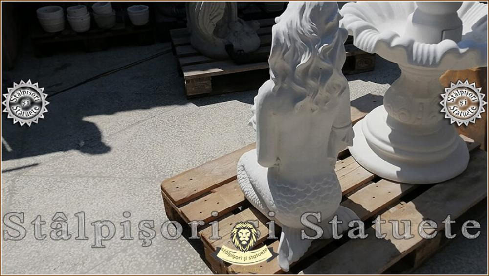Statueta sirena cu scoica, din beton, model S49. - 7