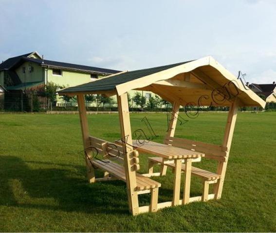 FOISOR din lemn cu masa si scaune (bancute) model REXAL